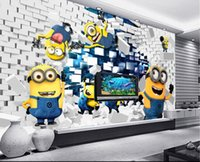 3d wallpaper personalizado foto no tejida murales pegatina de pared 3 d Minions ideas para romper el cuadro de pintura de pared 3d murales murales habitación papel pintado