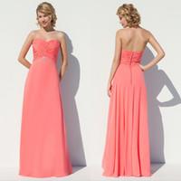 Wholesale A line peach blush country bridesmaid dresses Cheap Bridesmaids dress Chiffon Long Dresses Maternity evening dressess QW801