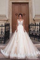 Wholesale 2016 Milla Nova Sheer Neck Princess Wedding Dresses Illusion Back Lace Chapel Train Vintage Bridal Gowns For Western Style Custom Made
