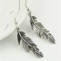 american brass and crystal chandeliers - European And American Retro Metallic Feather Leaf Shaped Earrings Leaves Dangle Earrings Factory Direct E031