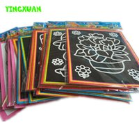 Wholesale 20pcs cm Two in one Magic Color Scratch Art Paper Coloring Cards Scraping Drawing Toys for Children