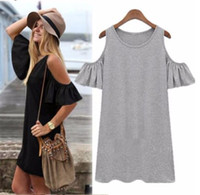 Wholesale hot sale pop high quality and good price Women Ladies Off Shoulder Long Blouse Ruffled T shirt Tops Shirt Dress