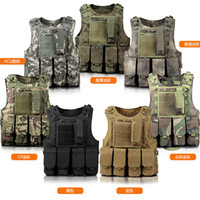 army camping equipment - Fall Men Military Tactical Bulletproof Vest Molle Camouflage Hook Fish Camping Vest Swat Army Training Combat Protective Equipment