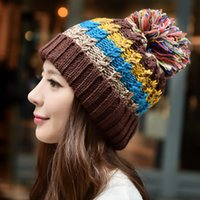 Wholesale Korean version of the new winter handmade knitted hat wool cap warm winter hat female millinery cute dither snow cap