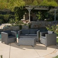 Wholesale Home Outdoor Puerta Piece Furniture Grey Wicker Steel And Wicker Construction Grey Black Sofa Set with Cushions Outdoor Wicker Sofa Set