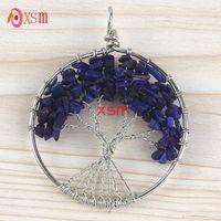 Wholesale Mode F main naturelle The tree of life Lapis lazuli stone crushed pendant Jewelry