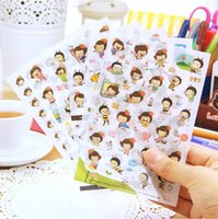 Wholesale New Cute Lovely girl Sheet Paper Stickers for Diary Scrapbook Book Wall Decor for decoration Cartoon stickers