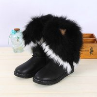ankle hair - 2016 New Winter Ladies Waterproof Leather Boots Rabbit Hair Fox Fur Ladies Short Boots Leatherette Middle Cylinder Large Hairy Fringed Boots