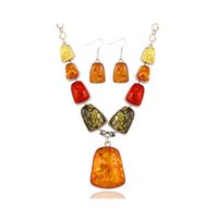 amber necklace for sale - 2016 New Fashion Vintage Synthetic Amber Charm Stone Jewelry Sets for Women Resin Necklace Earring Set Hot Sale CT023