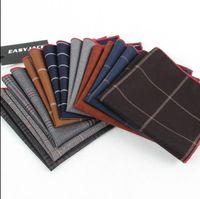 Wholesale DHL Free New Fasion Gentlemen Pocket Square cm cm Cottem Meterial Stripe Lattice Men s Handkerchief Suit Accessories for Party