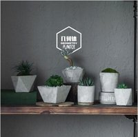 Wholesale Full Set Cement Flowerpot Succulent Planter Solid Geometry Style Concrete Floweplanter For Home Garden