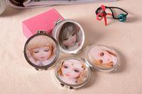 Wholesale Creative D image little girl round mirror mirror carry portable folding mini mirror