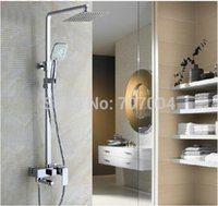bathtub systems - Wall Mount Shower Faucet System with quot Ultrathin Showerhead ABS Handshower Adjust Height Swivel Bathtub