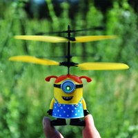 Wholesale Small yellow people flying toy airplane suspension induction charging toy durable aircraft helicopter