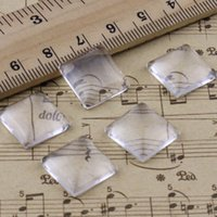 Wholesale 15x15mm Thickness mm Square Flat Back Clear Glass Cabochon Dome Cameo Jewelry Finding K02920