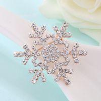 achat en gros de flocon broche or-White Crystal strass or et argent plaqué Broches flocon de neige Fashion Costume broche Broche bijoux cadeau de Noël DHL livraison gratuite