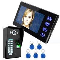 Wholesale Universal Multi function Touch Key quot LCD Fingerprint Recognition Video Door Phone Intercom System IR Camera HD TV Line