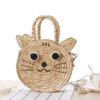 Cheap Free shipping brand new can mix order Fashion Women Summer Round Cute Cat Straw Bags Beach Tote Shoulder Bag Handbag