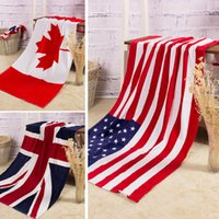 swimwear uk - 100 cotton beach towel drying washcloth swimwear shower towels USA UK Canada flag dollar design bath towel