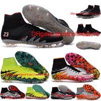 ankle boots cheap - 2016 Cheap Men Soccer shoes Leather Neymar NJR X Football Boots Hypervenom Phantom II FG High Ankle Soccer CLeats Top football soccer shoes