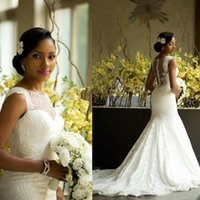 Wholesale Luxury African Mermaid Wedding Dresses Amazing Sheer Jewel Neck Back Covered Buttons Bridal Gowns Chapel Train Lace Wedding Dress