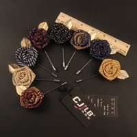 Wholesale Mens Suit gold leaf rose brooch brooch and collar long needle big manufacturers supply rose