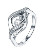 best dance classics - White AAA Dancing Cubic Zirconia Ring Classic Silver Women Jewelry Sets Best Friends Gift DL22130