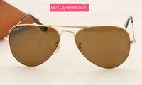 al por mayor mejores marcas de gafas de sol para los hombres-Nuevo marco de calidad superior del oro del metal de las mujeres de los hombres del piloto de las gafas de sol de la marca de fábrica de la manera con la lente de cristal marrón 58m m 62m m caso original de la mejor calidad