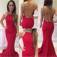adorn beaded - 2016 Satin Mermaid Prom Dresses Halter Neck with beaded Crystals adorned and Sexy Red Backless Court Train Prom Gowns