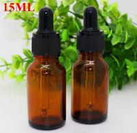 amber bottles with dropper - Hot Selling ml e liquid bottle OZ essential oil amber glass dropper bottle with black child safe cap On Promotion