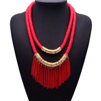 Wholesale 8 Color Fashion Summer Jewelry Bohemia Leather Rope Tassel Gold Chain Choker Necklace For Women Chunky Necklace