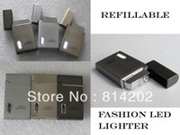 Wholesale-20pcs Marque Cigarette New LED briquet torche Rechargeable Gaz Butane Cigare Jet flamme allume