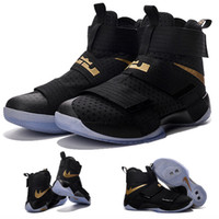 b boy - with shoes Box LeBron Zoom Soldier X Men Basketball Shoes Black Gold Championship Limited Edition Kids shoes