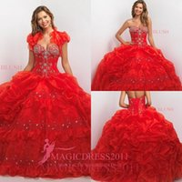 Cheap Gorgeous Red 2016 Quinceanera Dresses Cascading Ruffles Ball Gown Sweetheart Beaded Neckline Organza Corset Sweet 16 Party Dress Prom Gowns