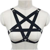Wholesale Pastel Gothic Black Body Harness Bra Sexy Lingerie Pentagram Cage Bra Harajuku Bondage Star Harness Bra O0209