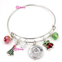 bell chains - NEW Interchangeable mm Snap Jewelry Xmas Bell Christmas Tree Charms alex and ani Expandable Wire Snap Bangle bracelets for women