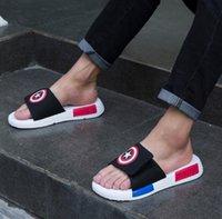 beach flipflops - Hot Sale Summer Sandals Captain America Hiphop Shoes For Men Breathable flipflops slippers Beach Sandals sandalias hombre