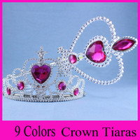 Wholesale 9 colors to choose frozen crown tiara dress Elsa Anna princess crowns hearts diamond tiara baby girls party hair accessories pageant hairban