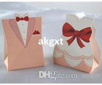 Wholesale Pink Tuxedo Dress Wedding Party Favors Candy Boxes Design E701