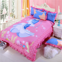 ariel sheet set - Mermaid Ariel Princess bedding set pink cartoon girl bed sets cotton twin queen size duvet cover sheet pillow case