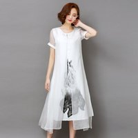 assemble lines - Summer dresses Women long style Vintage Real silk Short sleeve Assemble Linen blend Ink print False two piece dresses