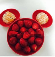 Wholesale Children Cute Cartoon Bowls fruit dish Baby girl boy interesting Micky Pattern Dinnerware solid color Dinner Tray Dishes colors for choose
