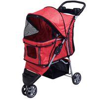 Wholesale Pet Stroller Cat Dog Wheels Stroller Travel Folding Easy Walk Carrier Red