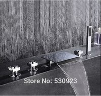 abs bathtub - Newly Bathroom Tub Faucet Chrome Finished Bathtub Faucet With ABS Hand Shower Sprayer Shower Mixer Tap Deck Mounted