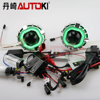 bi xenon projector lens - Autoki Inches Square CCFL Dual Angel Eyes HID Bi xenon Projector Lens Kit W AC HID Ballast HID Lamp for H4 H7 Headlamp