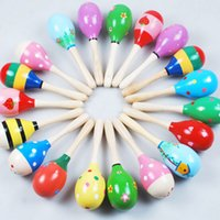 Wholesale Colorful Baby Toy Wooden Maracas Egg Shakers Musical Toy Baby Rattle Early Educational Toy Hand Trainning