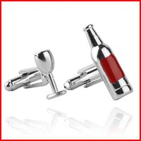 Wholesale 2016 Red Wine Bottle Cup Cufflink Cuff Links Collar Button for women men Dress Business Suit cocktail set Cufflink Christmas Jewelry