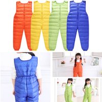 baby outer wear - kids winter clothes outer wear feather overalls boys and girls infant baby Piece pants down pants Jumpsuits Rompers