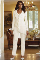 Cheap Stunning Chiffon Women White Slim Fit Pant Suits Lady Mother Bride Trousers Wedding Party One Button Business Casual Wear Custom Tailor