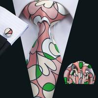Revisiones Lazo formal de color rosa-Corbata de seda con estilo con el lazo rosado verde de la boda de la nueva llegada Hanky mancuernas de los hombres de negocios de impresión del partido del lazo formal N-1300